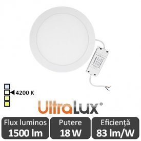 Ultralux Panou Led Rotund 18W Alb-Neutru LPRB2251842