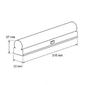 Ultralux Tub LED Thermoplastic 4W T5 320mm 6000K alb-rece