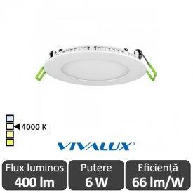 Vivalux Panou ESTE LED Rotund 6W CL/W 4000K Alb