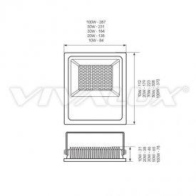 Vivalux - Proiector HELIOS LED de Exterior 30W IP65 6400K Alb-Rece Culoare Negru