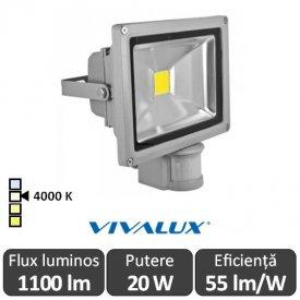 Vivalux - Proiector Solid LED de Exterior cu senzor 20W IP65 4000K