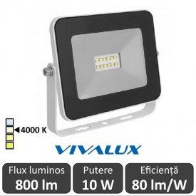 Vivalux - Proiector TREND LED de Exterior 10W IP65 4000K Alb-Neutru Culoare Alb