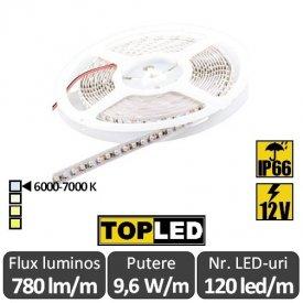 Bandă LED flexibilă - SMD2835 9,6W/m 12V IP66 rolă 5m alb-rece