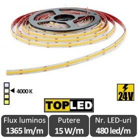 Bandă LED flexibilă - COB 15W/m 480led/m 24V, rolă 5m, alb-neutru
