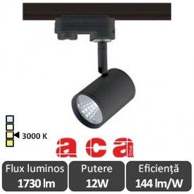 ACA Reflector interior sina Zuno 12W 3000K Alb/Negru/Gri