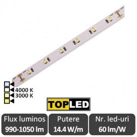 Bandă LED flexibilă - SMD2835 14.4W/m CRI94 12V 60led/m rolă 5m alb-cald sau neutru