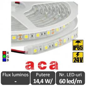 Bandă LED flexibilă - SMD5050 14.4W/m 24V IP65 rolă 5m RGB