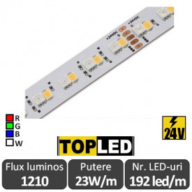Bandă LED flexibilă -Top Led RGB+W 192led/m 23W/m IP20 24V, rolă 5m