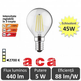 Bec LED Dimabil in 3 trepte Retro Filament 5W 230V E14 alb-cald