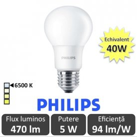 Bec LED Philips - CorePro LED bulb 5W A60 230V E27 alb-rece
