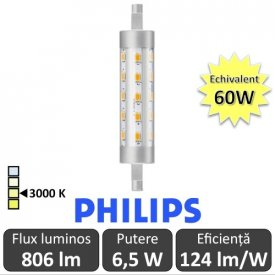 Bec LED Philips - CorePro LED linear R7S 118mm 6,5-60W 830 alb-cald