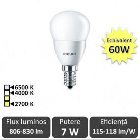 Bec LED Philips - CorePro LEDlustre 7-60W E14 230V P48 alb-cald/neutru sau rece