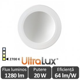 Downlight Led Rotund Lumină Indirectă 20W 2700K ( Alb-Cald )
