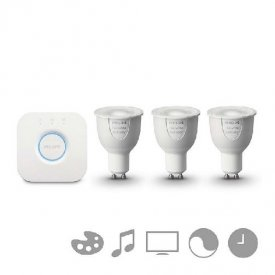 Philips - Set  HUE Starter Kit RGB 6.5W alb-cald GU10 (3 becuri + 1 bridge)