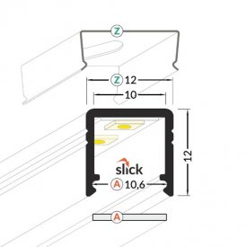 Profil LED aparent SMART 10, negru, lungime 2m