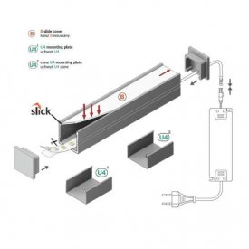 Profil LED aparent SMART 16, aluminiu anodizat, lungime 2m