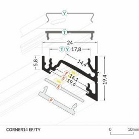 Profil LED de colț CORNER 14, negru, lungime 2m