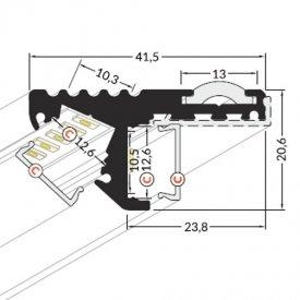 Profil LED de trepte STEP 10, negru, lungime 2m