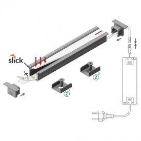 Profil LED încastrat SMART IN 10, aluminiu neanodizat, lungime 2m