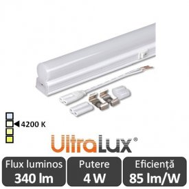 Ultralux Tub LED Thermoplastic 4W T5 320mm 4200K alb-neutru