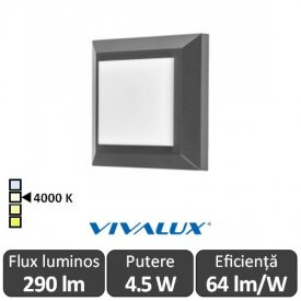 Vivalux ALVIA SQ Led 4.5W IP65 4000K Alb-Neutru