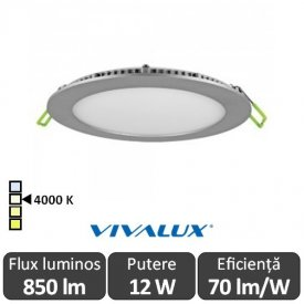 Vivalux Panou ESTE LED Rotund 12W CL/SR 4000K Aluminiu