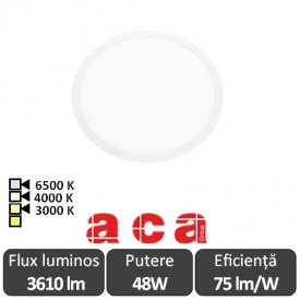 ACA Lighting Plato Panou Led Rotund Alb 48W 3000/4000/6500K