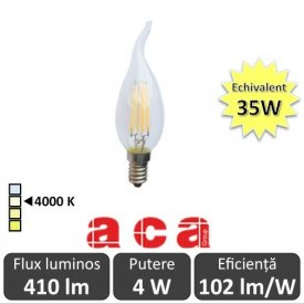 Bec LED Aca - Classic Filament LED 4W Deco E14 4000K alb-neutru