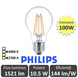 Bec LED Philips - Classic Filament LED 10.5-100W A60 E27 827 alb-cald sau alb-neutru