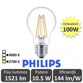 Bec LED Philips - Classic Filament LED 10.5-100W A60 E27 827 alb-cald sau alb-neutru