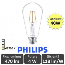 Bec LED Philips - Classic Filament LED 4W ST64 E27 827 alb-cald