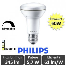 Bec LED Philips - CorePro LED spot MV 5,7W R63 230V E27 alb-cald