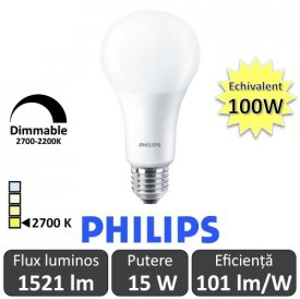 Bec LED Philips - Master LED bulb frosted DimTone 15W A67 230V E27 alb-cald
