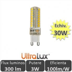 Bec LED Ultralux - Capsula LED G9 3W 230V alb-cald