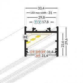 Profil LED aparent VARIO 30-02, negru, lungime 2m