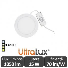 Ultralux Panou Led Rotund 15W Alb-Neutru LP2202401542