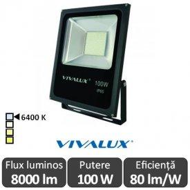 Vivalux - Proiector HELIOS LED de Exterior 100W IP66 6400K Alb-Rece Culoare Negru