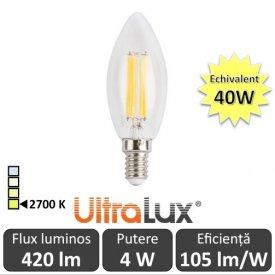 Bec LED Filament lumânare 4W E14 230V B35 alb-cald