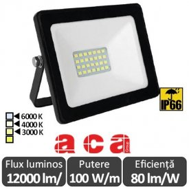 Aca Lighting - Proiector LED de Exterior 100W IP66 Alb/Negru