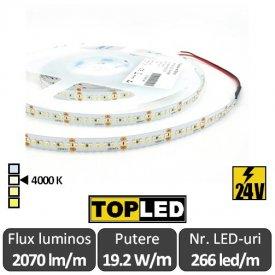 Bandă LED flexibilă - SMD2216 19.2W/m 266led/m CRI90 24V rolă 5m alb-neutru