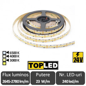 Bandă LED flexibilă - SMD2835 23W/m 240led/m CRI94 24V rolă 5m alb-cald/neutru sau rece