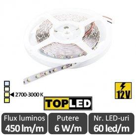 Bandă LED flexibilă - SMD2835 6W/m 12V rolă 5m alb-cald