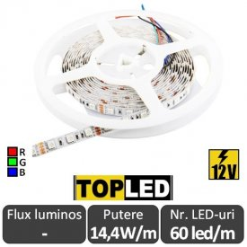 Bandă LED flexibilă - Top Led SMD5050 RGB  14.4W/m 12V rolă 5m