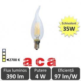 Bec LED Aca - Classic Filament LED 4W Deco E14 2700K alb-cald