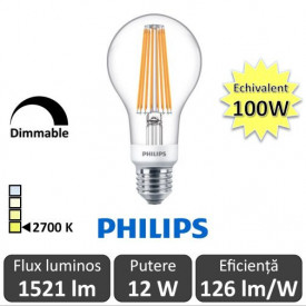 Bec LED Philips - Classic Filament Dimabil LED 12-100W A67 E27 alb-cald