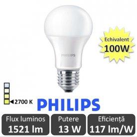 Bec LED Philips - CorePro LED bulb 13W A60 230V E27 alb-cald