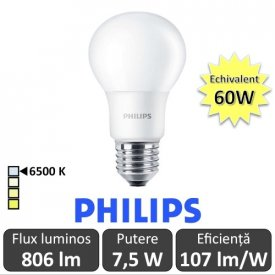 Bec LED Philips - CorePro LED bulb 7,5W A60 230V E27 alb-rece