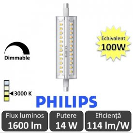 Bec LED Philips - CorePro LED linear R7S 118mm 14-100W 830 alb-cald