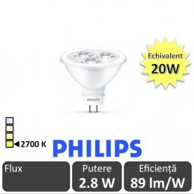 Bec LED Philips - LED spot classic LV MR16 2.8W GU5.3 12V 36D alb-cald