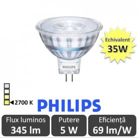 Bec LED Philips - LED spot classic LV MR16 5W GU5.3 12V 36D alb-cald